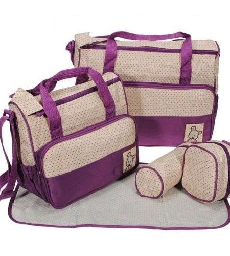 5tlg-Babytasche-Wickeltasche-Mutter-Windeltasche-5pcs-Nappy-Changing-Lila-0