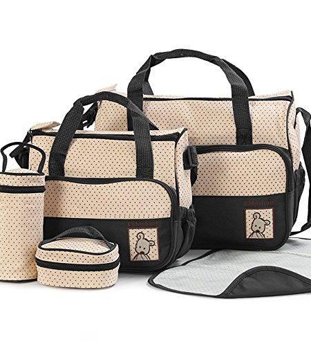 5tlg-Babytasche-Wickeltasche-Mutter-Windeltasche-5pcs-Nappy-Changing-schwarz-Black-0