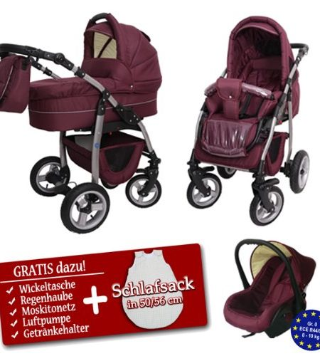 ALPHA-Kinderwagen-von-Baby-Joy-AP-S-03-BORDEAUX-Gestell-Silber-Kombikinderwagen-Sportwagen-Buggy-Luftrder-0