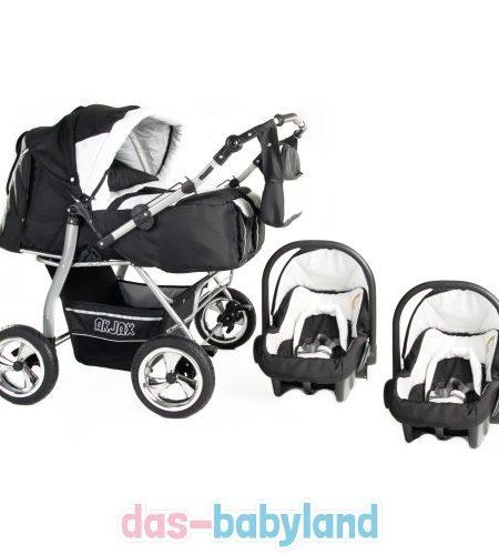 Akjax-Gemini-in-40-Farben-inklSonnenschirm-2-Babyschalen-Zwillingskinderwagen-Geschwisterwagen-Zwillingsbuggy-Babyschale-0