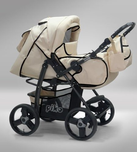 Akjax-Piko-3in1-in-40-Farben-inklSonnenschirm-Babyschale-schwarzes-Rad-Kombikinderwagen-Kinderwagen-Buggy-0