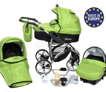 Allivio-3-in-1-Reisesystem-einschlielich-Kinderwagen-mit-schwenkbaren-Rdern-Kinderautositz-Buggy-und-Zubehr-Schwarz-und-Grn-0