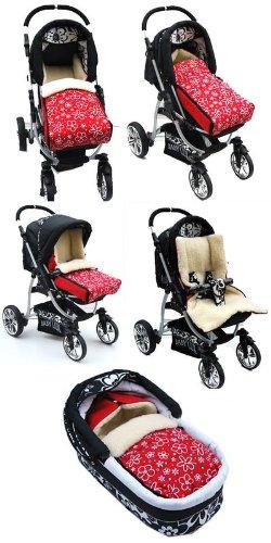 BABYLUX-Fusack-LAMMWOLLE-Winterfusack-Kinderwagen-Babyschale-Fusack-SCHWARZ-0-0