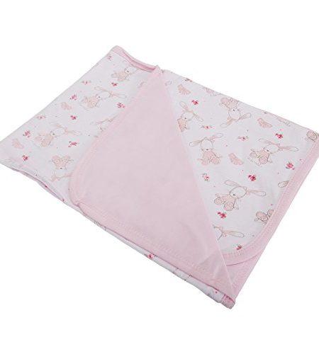 Baby-Mdchen-Decke-mit-Hasen-und-Floral-Muster-0
