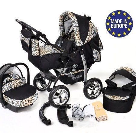 Baby-Sportive-Kamil-Kombikinderwagen-set-incl-Kinderwagen-mit-Zubehr-Babyschale-und-Sportwagen-Aufsatz-System-mit-RDER-NICHT-SCHWENKBAR-Reisesystem-Farbe-Black-Leopard-0