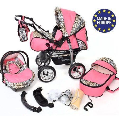 Baby-Sportive-Kamil-Kombikinderwagen-set-incl-Kinderwagen-mit-Zubehr-Babyschale-und-Sportwagen-Aufsatz-System-mit-RDER-NICHT-SCHWENKBAR-Reisesystem-Farbe-Rosa-und-Leopard-0