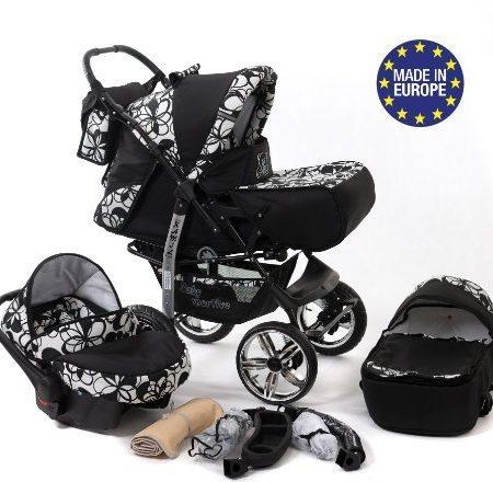 Baby-Sportive-Kamil-Kombikinderwagen-set-incl-Kinderwagen-mit-Zubehr-Babyschale-und-Sportwagen-Aufsatz-System-mit-RDER-NICHT-SCHWENKBAR-Reisesystem-Farbe-Schwarz-weie-Blumen-0