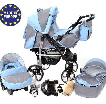 Baby-Sportive-X2-3-in-1-Kombikinderwagen-set-incl-Kinderwagen-mit-Zubehr-Babyschale-und-Sportwagen-Aufsatz-System-mit-Schwenkrder-Reisesystem-Farbe-Asche-und-Blau-0