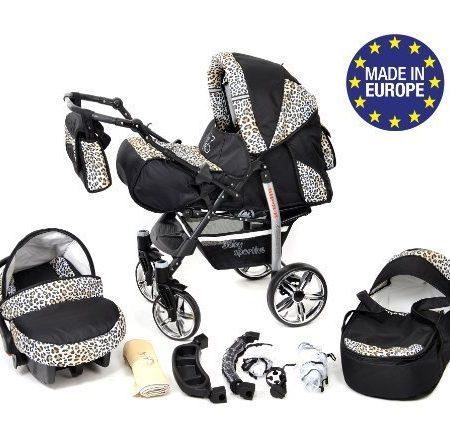 Baby-Sportive-X2-3-in-1-Kombikinderwagen-set-incl-Kinderwagen-mit-Zubehr-Babyschale-und-Sportwagen-Aufsatz-System-mit-Schwenkrder-Reisesystem-Farbe-Schwarz-und-Leopard-0