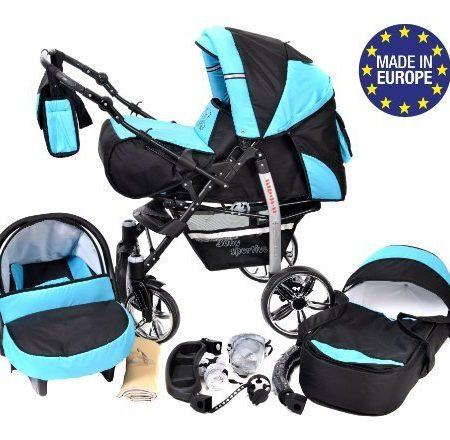 Baby-Sportive-X2-3-in-1-Kombikinderwagen-set-incl-Kinderwagen-mit-Zubehr-Babyschale-und-Sportwagen-Aufsatz-System-mit-Schwenkrder-Reisesystem-Farbe-Schwarz-und-Trkis-0