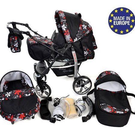 Baby-Sportive-X2-3-in-1-Kombikinderwagen-set-incl-Kinderwagen-mit-Zubehr-Babyschale-und-Sportwagen-Aufsatz-System-mit-Schwenkrder-Reisesystem-Farbe-Schwarz-und-kleine-Blumen-0