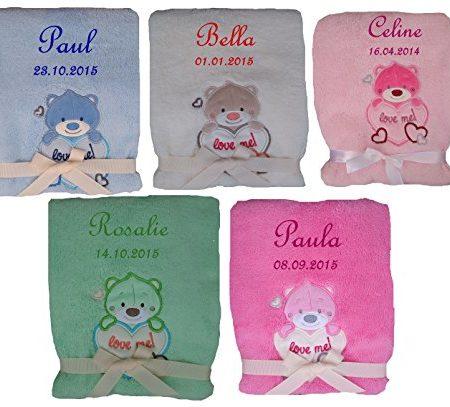 Babydecke-mit-Namen-bestickt-Teddy-mit-Herz-Farbwahl-Taufe-Geburt-0
