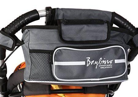 Baybino-Kinderwagen-Organizer-Deluxe-Tasche-und-Getrnkehalter-fr-Kinderwagen-und-Buggy-100-Kundenzufriedenheitsgarantie-0
