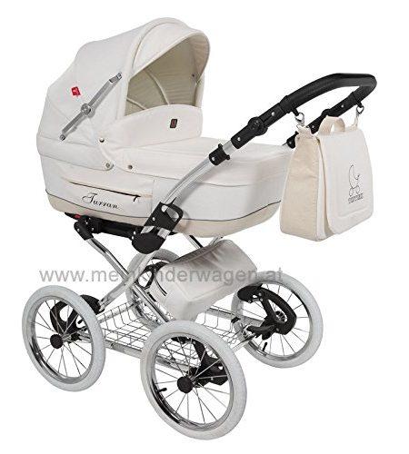 Classico-Turran-Eco-Leder-Deluxe-Klassischer-Kinderwagen-im-Retro-Design-mit-Nostalgie-Touch-Luxus-Kombikinderwagen-3-in-1-Kinderwagen-Sportwagen-Adapter-fr-MaxiCosi-Autositz-mit-viel-Zubehr-0