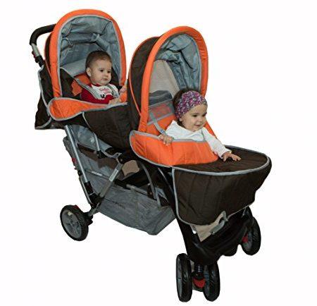 Geschwisterwagen-Zwillingswagen-orange-Top-Design-BambinoWorld-0