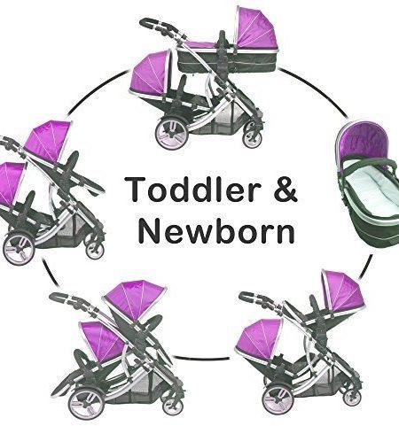 Kidz-Kargo-Duellette-21-BS-Zwillingskinderwagen-2-Sitze-kompatibel-mit-Kindersitzen-frs-Auto-2-Fusckchen-2-Regenabdeckungen-silberfarbenes-Gestell-Farbe-Mitternachtsschwarz-Magenta-Pink-Modell-Dullett-0