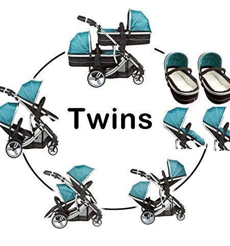Kidz-Kargo-Duellette-21-Zwillingskinderwagen-mit-2-Sitzen-2-Fuscken-und-2-Regenschutabdeckungen-Trkis-0