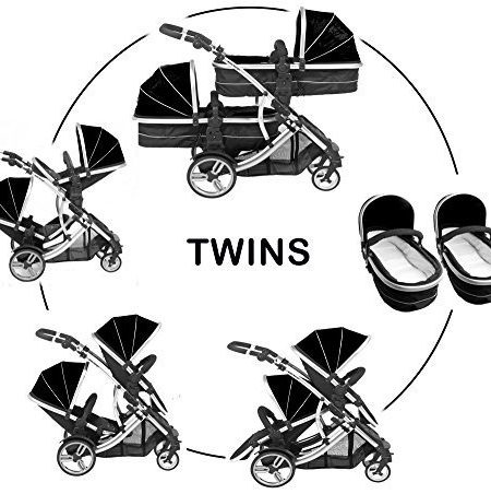 Kidz-Kargo-Duellette-21-Zwillingskinderwagen-mit-2-Sitzen-2-Fuscken-und-2-Regenschutzabdeckungen-Mitternachtsschwarz-Trkis-0