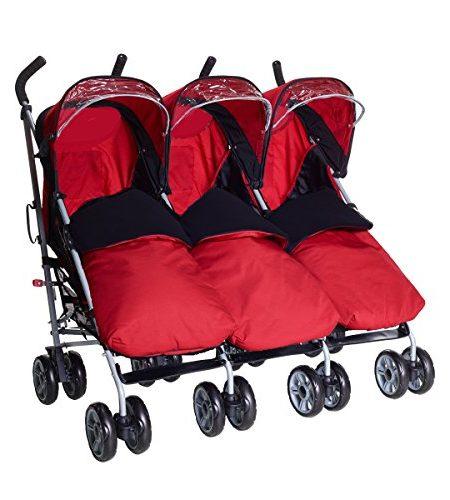 Kidz-Kargo-Triple-Triplets-KinderwagenBuggy-fr-Drillinge3-Kinder-alle-Sitze-in-5-Positionen-einstellbar-unabhngige-Verstellung-Reflektorstreifen-am-Dach-fr-maximale-Sicherheit-SchwarzBeerenrot-0
