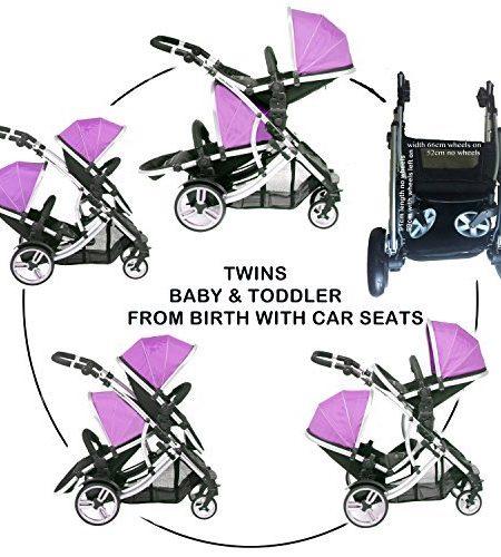 Kidz-Kargo-Zwillings-Kinderwagen-2-Sitzschalen-silberfarbenes-Fahrgestell-Magenta-inkl-2-Regenabdeckungen-0