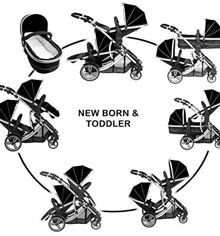 Kinderwagen-Zwillingskinderwagen-Tandemkinderwagen-Kidz-Kargo-Duellette-21-BS-Combo-Midnight-Schwarz-von-Geburt-an-NEU-inkl-1-Multifunktionssitz-1-Standardsitz-und-2-Fuscke-Blau-Pink-und-Regenschutz-B-0