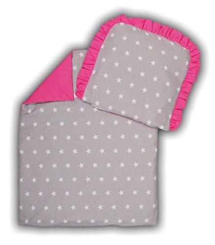 kinderwagenset baby bettw sche garnitur f r kinderwagen kissen decke f llung sternchen grau rosa. Black Bedroom Furniture Sets. Home Design Ideas
