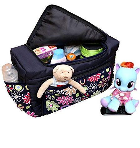 TP-31-Wickeltasche-PIA-von-Baby-Joy-XXXL-bergre-Schwarz-Wei-LEO-Windeltasche-Pflegetasche-Babytasche-Tragetasche-0-2
