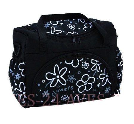 Wickeltasche-Kinderwagentasche-Schwarz-Blumen-6-mit-Wickelunterlage-0