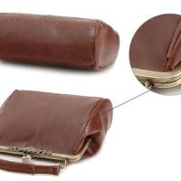 WomdeeTM-Retro-Stil-Clip-Schloss-Imitation-Leder-Umhngetasche-Handtasche-Tragetasche-Wickeltasche-Dunkel-Braun-Geschenkt-Halskette-0-1