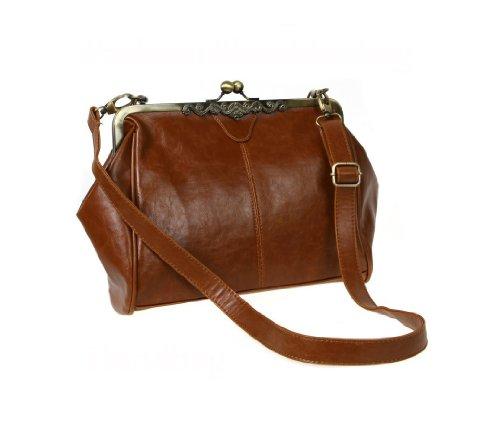 WomdeeTM-Retro-Stil-Clip-Schloss-Imitation-Leder-Umhngetasche-Handtasche-Tragetasche-Wickeltasche-Dunkel-Braun-Geschenkt-Halskette-0