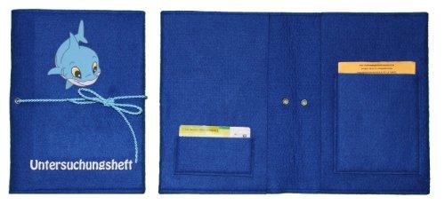 dunkelblaue-Untersuchungsheft-Tasche-mit-Hai-Bild-und-Flock-Schrift-jetzt-auch-mit-Wunschnamen-0