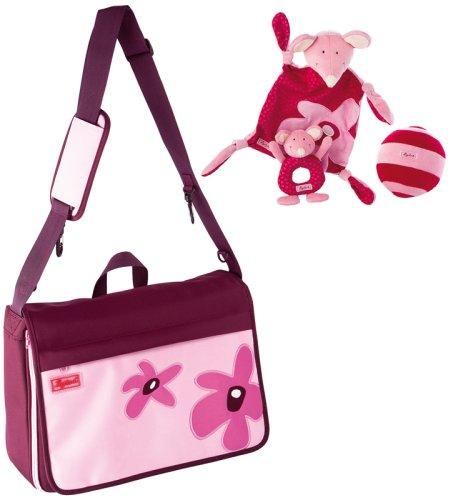 sigikid-23404-Babybasics-Wickeltaschen-Set-pink-weinrot-0