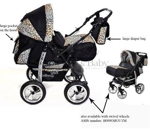 incl Kamil System mit R/ÄDER NICHT SCHWENKBAR Kombikinderwagen set Kinderwagen 3 in 1 mit Zubeh/ör Babyschale und Sportwagen Aufsatz