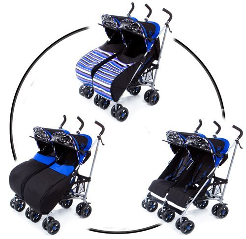 Zwillingskinderwagen nebeneinander  Kidz Kargo Kinderwagen/Buggy für Zwillinge, mit wendbarem Beinsack ...