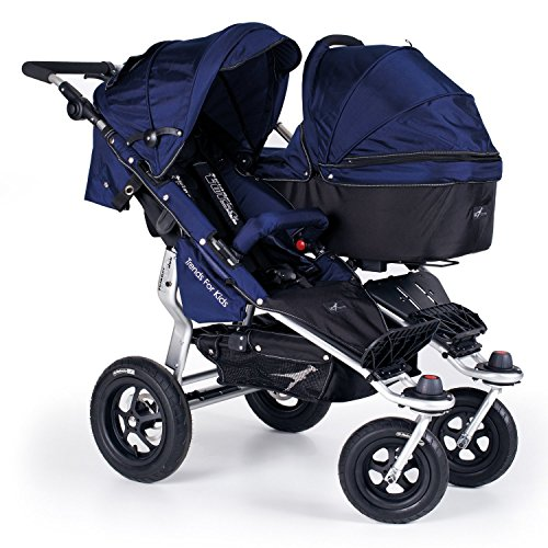 tfk twinner twist duo geschwisterwagen classic blue mit babywanne und adapter. Black Bedroom Furniture Sets. Home Design Ideas